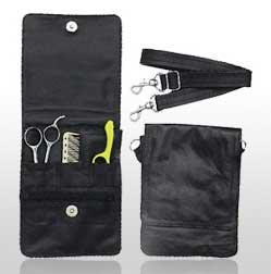 Leather 4 Shear Multi Item Case w Zippered Pocket
